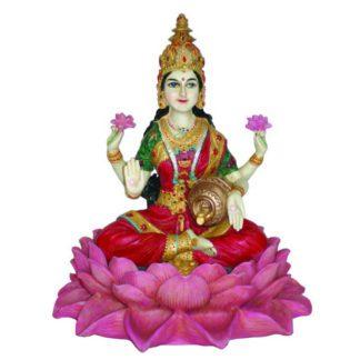 Lakshmi siddende på Lotus - 25cm