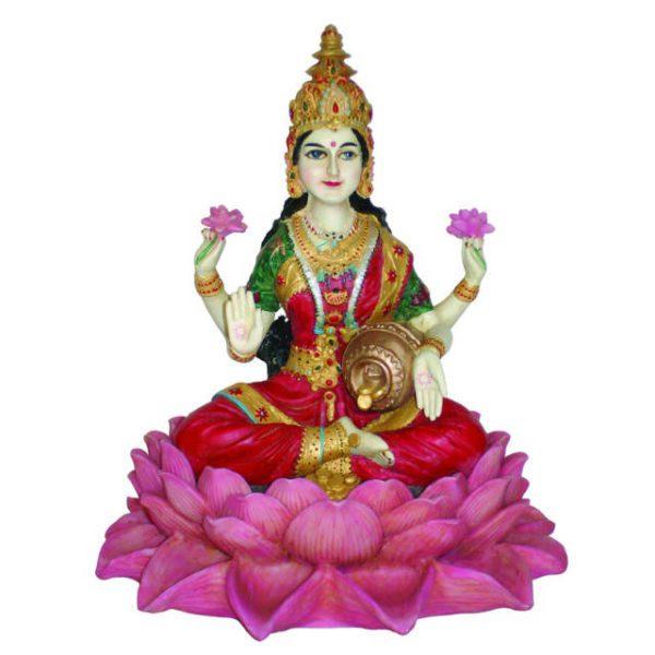 Lakshmi siddende på Lotus - 25cm fra Østens Perle