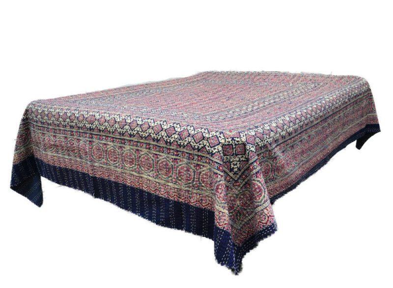 Utroligt Quiltet-indisk bomulds-sengetæppe blå og beige farver LC62