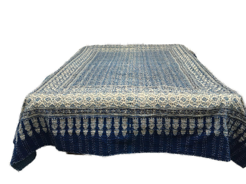 sengetæppe Quiltet indisk bomulds sengetæppe blå og beige farver sengetæppe