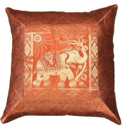 Satin pudebræk med elefanter i guldtråd