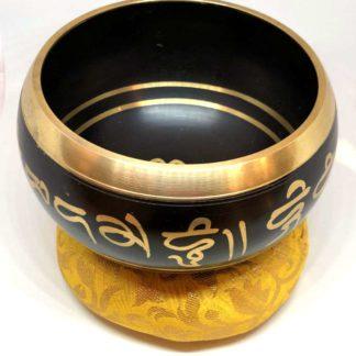 Tibetansk syngeskål sort og guld
