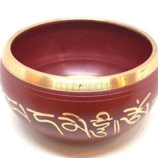 Tibetansk syngeskål rød og guld