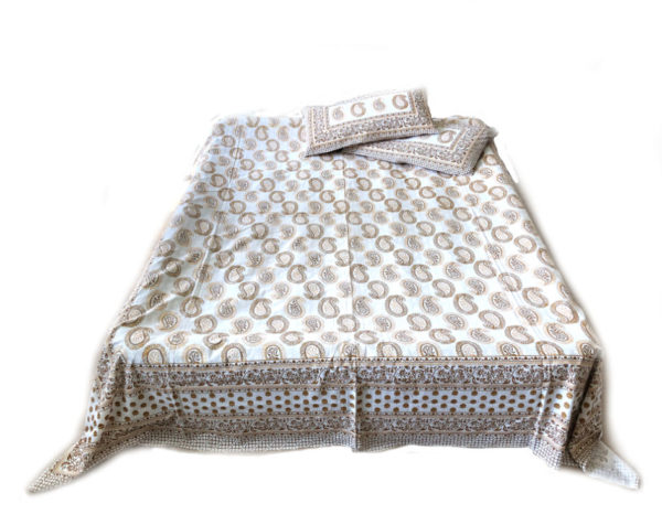 Blokprint sengetæppe til dobbeltseng med 2 pudebetræk