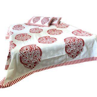 Blokprintet sengetæppe til dobbeltseng med 2 pudebetræk