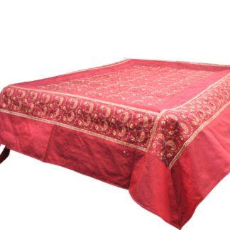 Silke sengetæppe rød