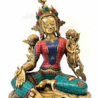 Tibetansk grøn Tara i messing med sten