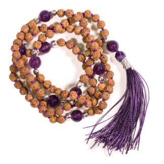 Mala Rudraksha og ametyst med lilla kvast