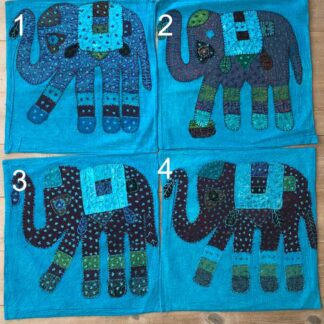 Pudebetræk med påsyede elefanter blå