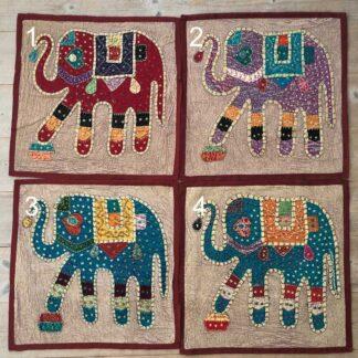 Pudebetræk med påsyede elefanter