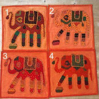 Pudebetræk med påsyede elefanter orange
