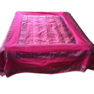 pink sengetæppe i art silke