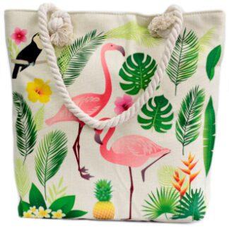 Strandtasker i smukke klare farver. Strandtasker i glade tropiske designs. Strandtasker kan bruges til mange formål.